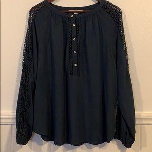 LOFT Lace Sleeve Blouse Navy & Black XL New